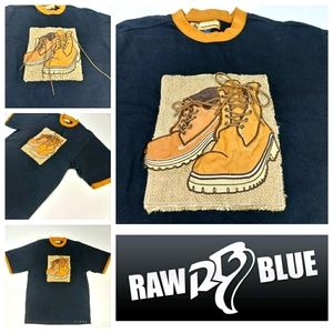 RAW BLUE Men's 2XL Suede Work Boot Shirt Like New